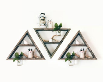 3 Reclaimed Wood Triangle Shelf Mason Jar Planter / barnwood shelf, barnwood decor, reclaimed wood shelf, display shelf, geometric shelf