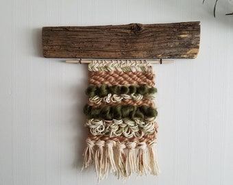 Barnwood Weaving / weaving wall hanging, woven wall art, modern rustic, boho decor, tapestry wall hanging, barn wood wall art, barnwood art