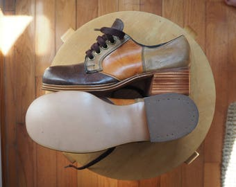 e173630e2c Never Worn Deadstock NWoT 1970s Leather Groovy Disco Men's Platform Shoes  Stacked Wood Heel