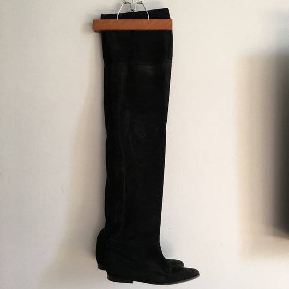 1980s Black Suede Flat Thigh High Boots