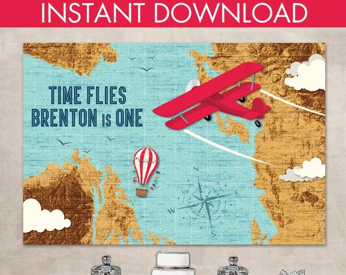 "Airplane Party 60""x40"" Backdrop - Biplane, Map, Aviator Birthday, Retro Aviator Party   Editable Text - DIY Instant Download PDF Printable"