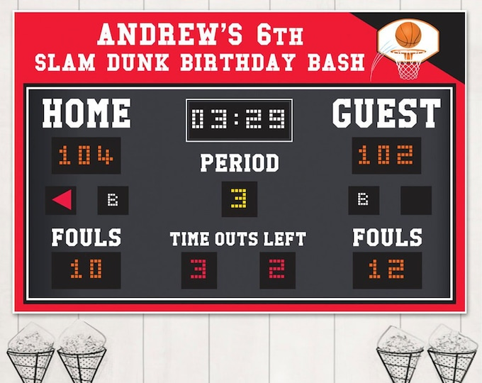 "Basketball Party Backdrop - 60""x40"" Scoreboard Backdrop, Basketball Birthday, Editable Text 