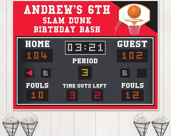 "Basketball Party Backdrop - 48""x36"" Scoreboard Backdrop, Basketball Birthday, Editable Text 