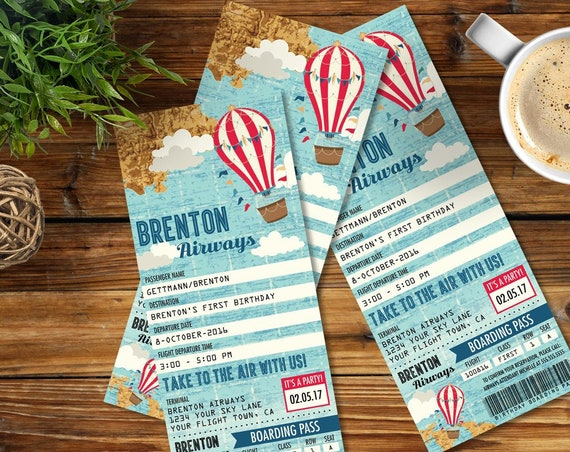 Hot Air Balloon Party TICKET Invitation , Aviator, Map Hot Air Balloon, 1st Birthday   Self-Edit Text Instant Download Printable Template