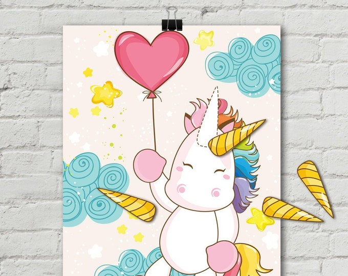 """Unicorn Party - Pin the Horn Unicorn Game - 18""""x24"""" Magical Unicorn Party, Birthday Party, Rainbow 