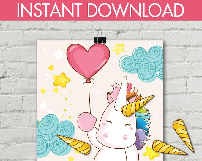 """Unicorn Party - Pin the Horn Unicorn Game - 24""""x36"""" Magical Unicorn Party, Birthday Party, Rainbow 