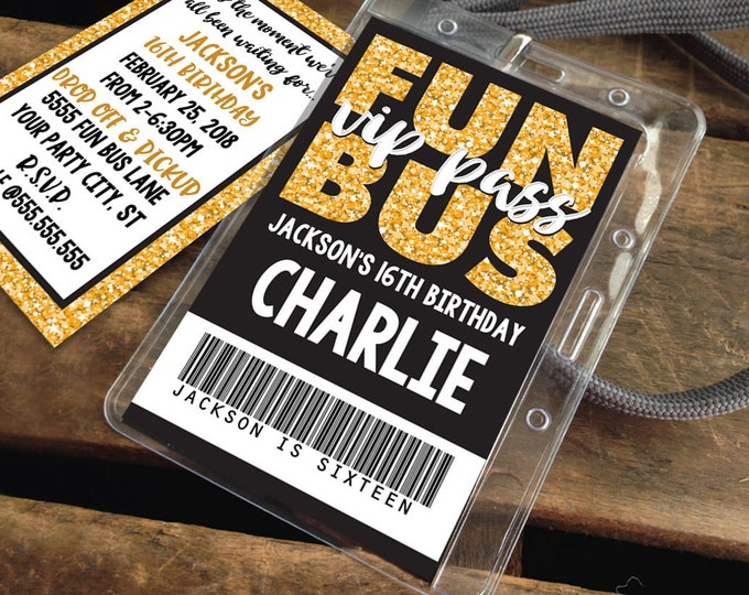 Fun Bus VIP I.D. Badge Invitation - Party Bus Invite, Party Favor,Teen ID Badge,Tween Badge Gold | Instant Download D.I.Y. Printable PDF Kit