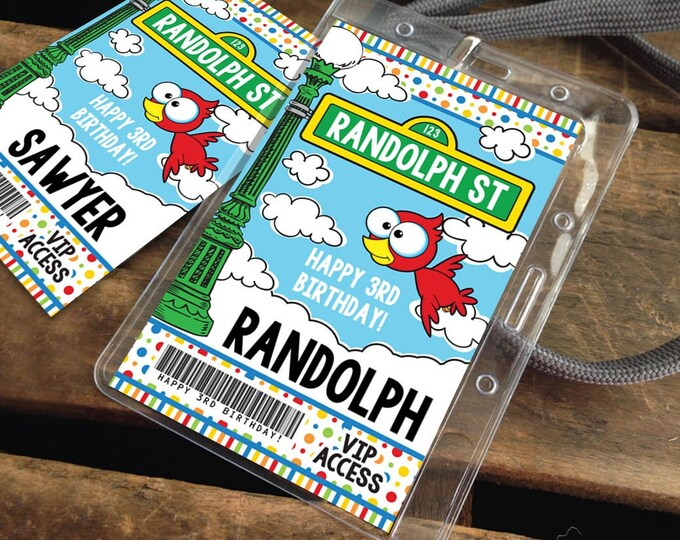 Sesame St ID Badges - VIP Party Badge, All Access Birthday Party Favor, Self-Editing | D.I.Y. Editable Text INSTANT Download Printable