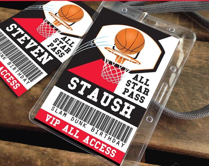 Basketball All Star ID Badge - Basketball Party, Basketball Birthday, All Star, Red and Black | Editable DIY Instant Download PDF Printable