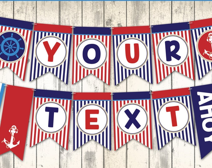 Nautical Party Banner - Nautical Bunting, Garland, 1st Birthday, Sailor Party, Nautical Birthday   DIY Instant Download PDF Printable