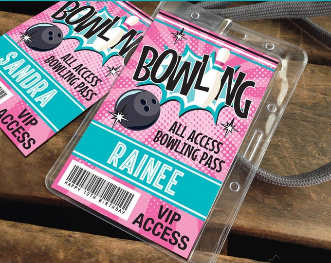Bowling Party ID Badges - Bowling Bash, Bowling Birthday, All Access Badge, Pink/Turqoise | INSTANT Download Printable PDFs