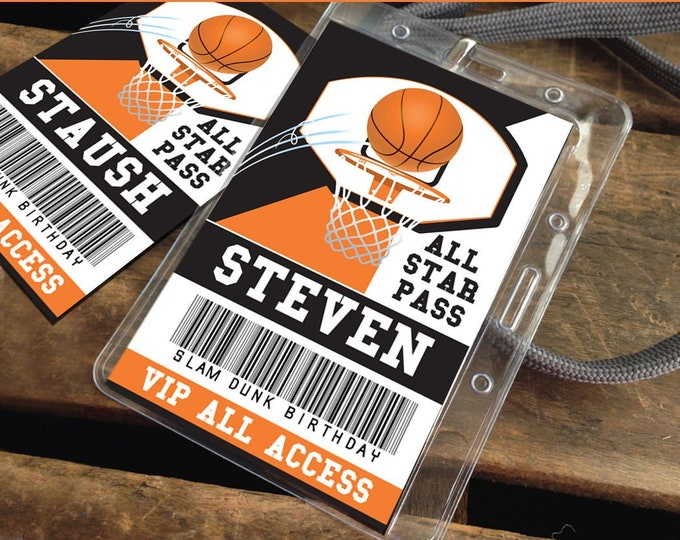 Basketball All Star ID Badges - Basketball Party, Basketball Birthday, Favor Badges, All Star | Editable DIY Instant Download PDF Printable