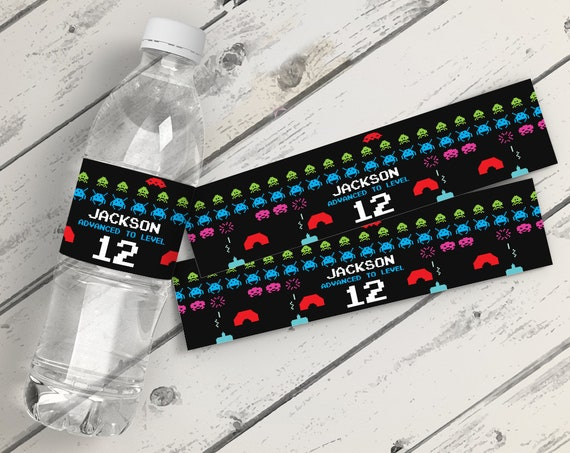 Retro Video Game Water Bottle Labels or Wrappers - Retro Video Game Birthday, Space Invader Inspired | INSTANT Download Printable PDFs