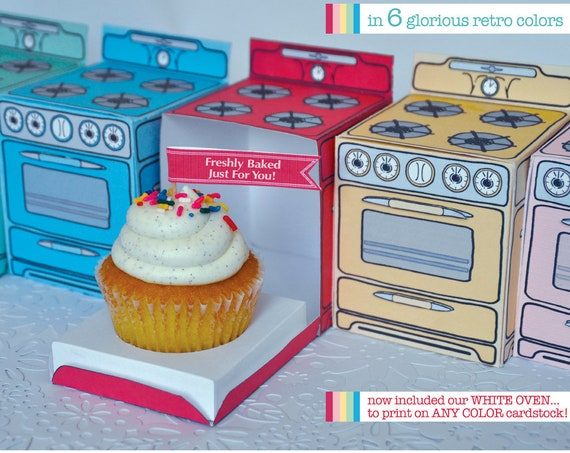 Bun In The Oven Box - Shower Oven Cupcake Box, baking party, cooking party - 6 Boxes - Instant download DIY Printable PDF Kit