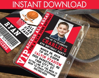 Basketball VIP I.D. Badge Invitation - Photo Basketball Invite Badge, Party Favor,All Star Badge | Instant Download D.I.Y. Printable PDF Kit