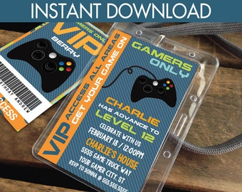 Video Gamer VIP I.D. Badge Invitation- 2-Sided Badge, Party Favor, Game Truck Party Invite | Instant Download D.I.Y. Printable PDF Kit