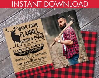 Lumberjack Party Photo Invitation - Lumberjack Birthday, Click & Replace Photo, Self-Editable Text | DIY INSTANT Download PDF Printable