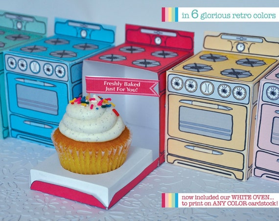 Bun In The Oven Box - Shower Oven Cupcake Box, baking party, cooking party- 6 Boxes - Instant download DIY Printable PDF Kit