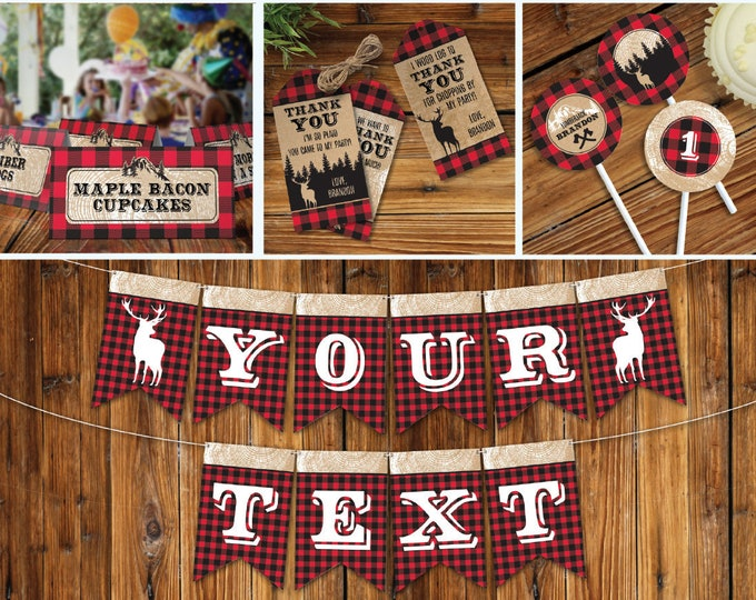 Lumberjack Birthday Party Decor - Lumberjack Birthday, First Birthday, Full Collection DIY - INSTANT Download Printable PDFs