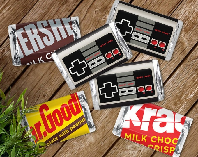 NES Mini Candy Bar Label/Wrapper - Video Game Party Favor, Nintendo, Retro Gamer   D.I.Y. Editable Text INSTANT DOWNLOAD Printable