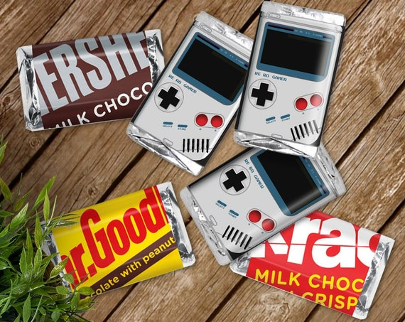 Game Boy Mini Candy Bar Label/Wrapper - Video Game Party Favor, Nintendo, Retro Gamer | D.I.Y. Editable Text INSTANT DOWNLOAD Printable