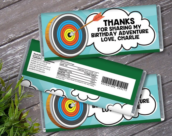 Archery Candy Bar Label/Wrapper - Adventure Awaits Birthday, Wild One Party | Editable Text - Instant Download PDF Printable