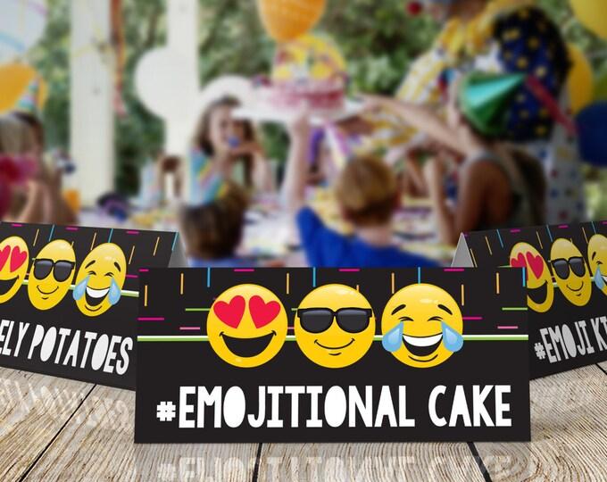 Emoji Party Food Labels - Folding Buffet Labels - Emoji Placecards - Emoji Theme - Emoticon | Editable Text - Instant Download PDF Printable