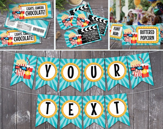 Movie Party Set - Party Decor, Movie Birthday, Cinema Birthday | Editable Text - DIY Instant Download PDF Printable