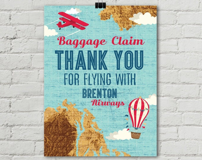 "Retro Airplane Poster 18""x24"", Baggage Claim Airplane Poster, Aviator Map Party, 1st Birthday 