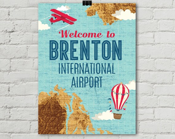 """Airplane Poster 18""""x24"""", Welcome Siign, Aviator Birthday Party, Map Party, 1st Birthday 