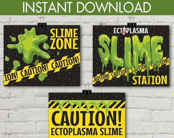 """Ghostbusters Slime 8"""" x 10"""" Signs - Ghostbuster Party, Birthday Party, Movie Party, Ghostbuster Decor 
