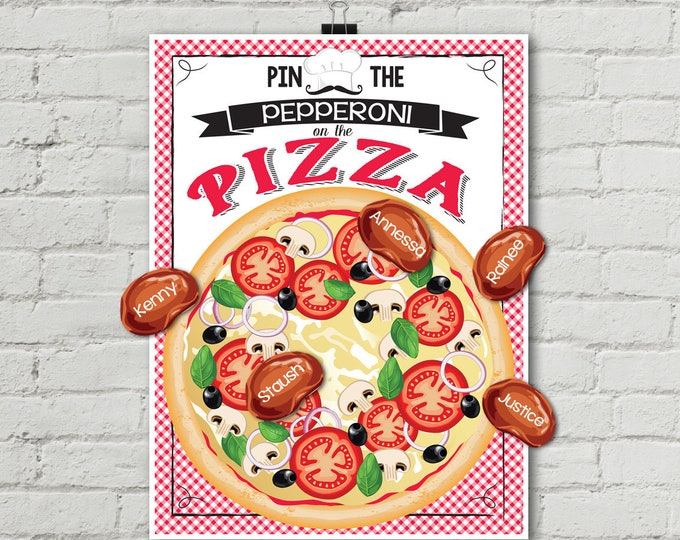 Pizza Party - Pin the Pepperoni Game - Pizza Birthday Party - Pizza Party Game - INSTANT Download PDF - Printable Game