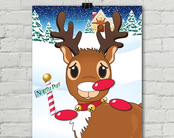 Reindeer Party - Pin the Nose Game - Reindeer Games, Reindeer Party, Rudolph, Christmas Party - INSTANT Download PDF - Printable Game