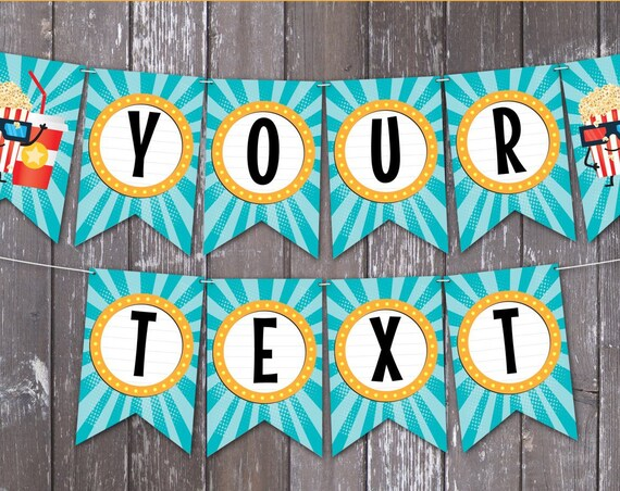 Movie Party Banner, Movie Birthday, Party Decorations - Bunting - Pennant   Editable DIY Instant Download PDF Printable