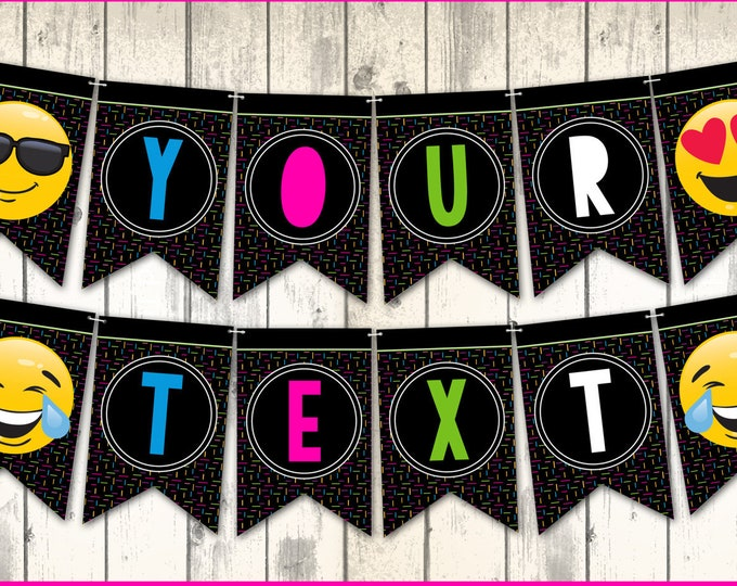 Emoji Party Banner - Emoji Bunting, Garland, Emoji Birthday | Editable Text - Instant Download PDF Printable