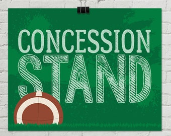 """Football - Concession Stand 8"""" x 10"""" Sign - Football Party, Bowl Party, Football Decor   INSTANT Download PDF Printable Sign Set"""