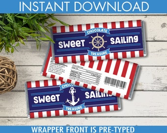 Nautical Candy Bar Wrappers - Nautical Favor,Chocolate Labels,Nautical Party, 1st Birthday,Sailor Party | DIY Instant Download PDF Printable