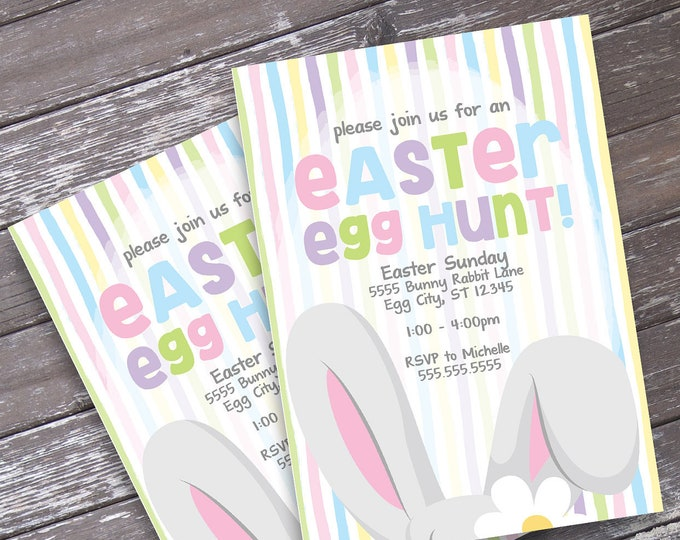 Easter Egg Hunt Invitation - Easter Party, Bunny Party, Bunny Baby Shower, Spring Party | Editable Text - Instant Download PDF Printable