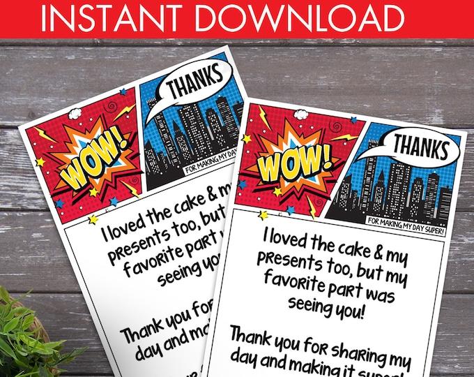 Superhero Thank You Card - Superhero Birthday Party, Comic Book Thank You Note, Self-Editing   DIY Editable Text INSTANT DOWNLOAD Printable