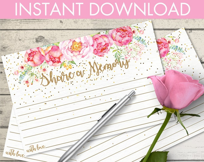 """Share a Memory Card, Memory Cards, Memorial Card, Keepsake, Funeral Memory Card 4""""X6"""" Cards 