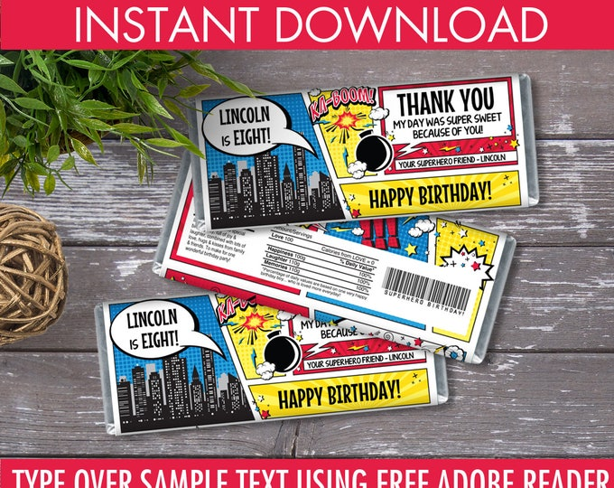Superhero Candy Bar Wrappers   Editable Text - Instant Download PDF Printable