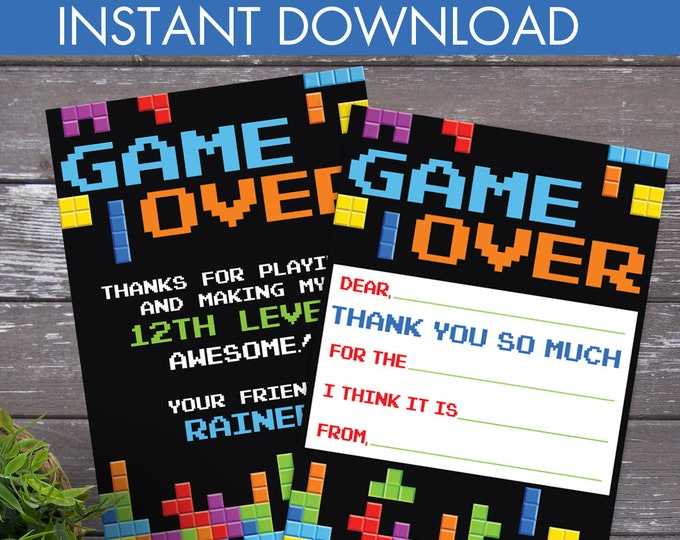 Video Game Party Thank You Card - Video Gamer Thank You, Birthday, Gamer Truck, Tetris | DIY Editable Text Instant Download PDF Printable