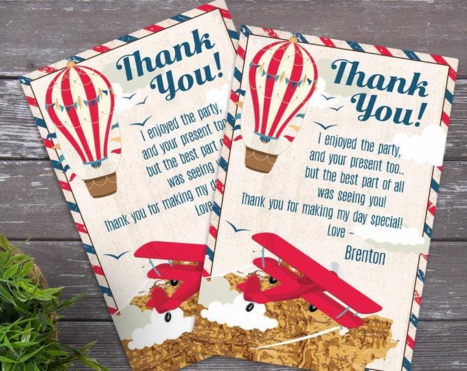 Aviator, Airplane, Hot Air Balloon - Thank You Cards, Retro Aviator, Retro Map |Self-Editing DIY Text INSTANT DOWNLOAD Printable SEM102_16