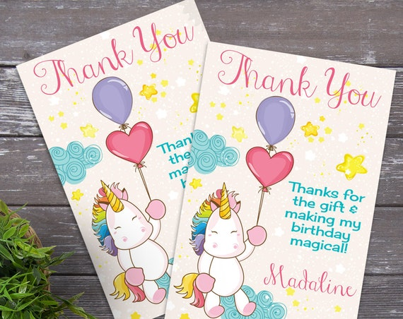 Unicorn Party Thank You Card - Unicorn Thank You, First Birthday | DIY Editable Text Instant Download PDF Printable