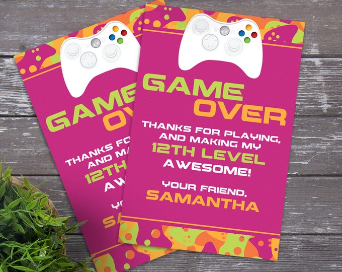 Video Game Party Thank You Card - Video Gamer Thank You, Birthday, Gamer Truck - Pink | DIY Editable Text Instant Download PDF Printable