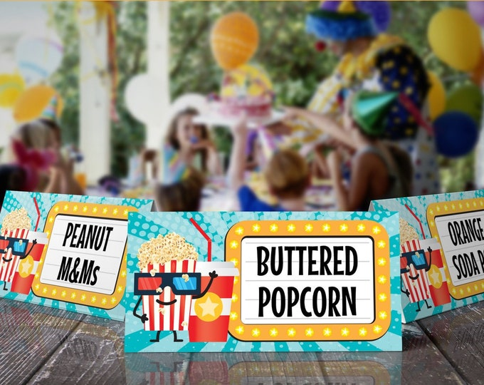 Movie Party Food Labels - Movie Birthday, Table Tents, Place Cards, Buffet Tags  - Editable Text - DIY Instant Download PDF Printable