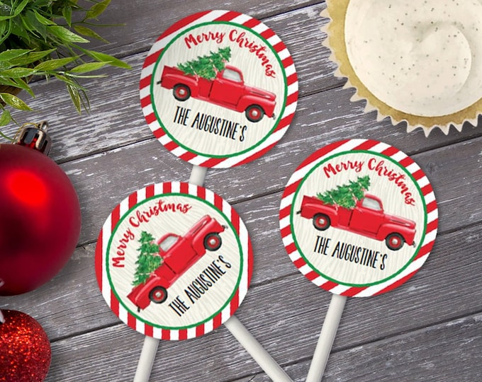 "Vintage Truck 2.5"" Circles Cupcake Toppers - Watercolor Truck, Tree Trimming Party,Christmas 
