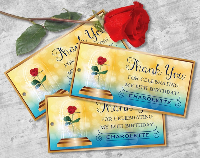 Beauty & the Beast Favor Tag - Belle Birthday, Thank You Tag, Gift Tag, Self-Editing   DIY Editable Text INSTANT DOWNLOAD Printable