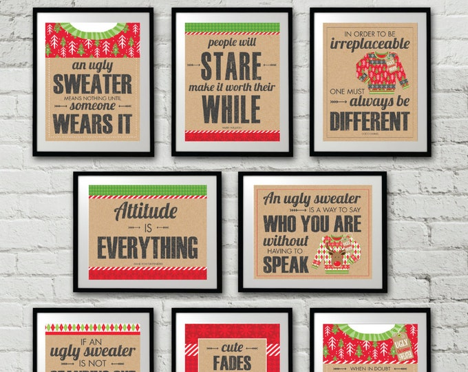 Ugly Sweater Party Signs, Ugly Sweater Party, Christmas Party, Tacky Sweater,Office Christmas Party | Instant Download PDF 8 Printable Signs