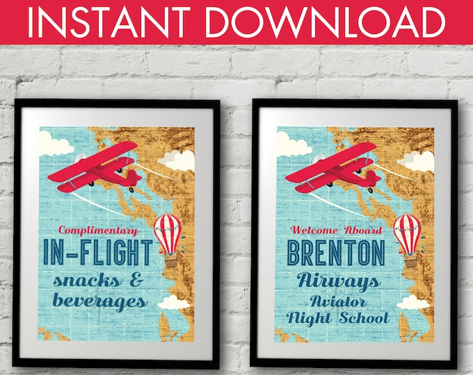 """Retro Airplane 5""""x7"""" Signs - Hot Air Balloon Sign, Aviator Party Signs - Map Party Signs, 1st Birthday   DIY Instant Download PDF Printable"""